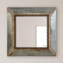 Square Distressed Metal Mirror